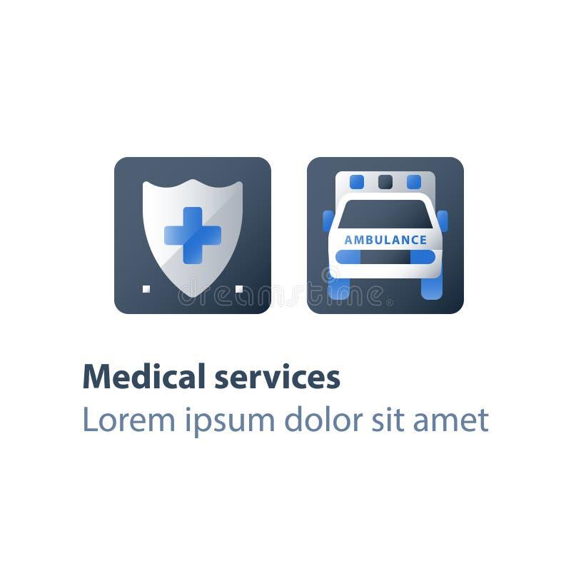 Fast hospitalization, ambulance vehicle, emergency car, health care and medical concept. Ambulance vehicle, emergency car, health care and medical concept, fast royalty free illustration