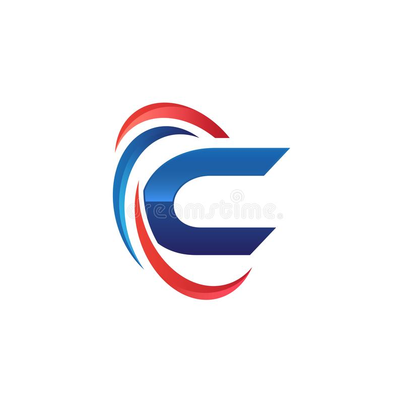 Initial letter C logo swoosh red and blue. Initial letter logo swoosh red and blue. simple and modern initial logo vector vector illustration