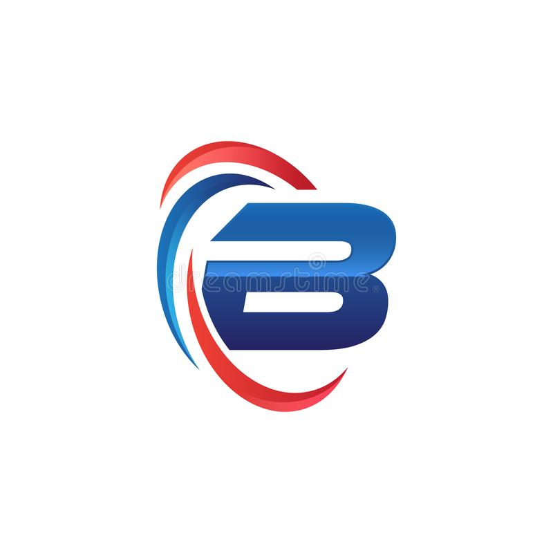 Initial letter B logo swoosh red and blue. Initial letter logo swoosh red and blue. simple and modern initial logo vector royalty free illustration