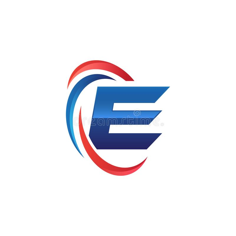 Initial letter E logo swoosh red and blue. Initial letter logo swoosh red and blue. simple and modern initial logo vector royalty free illustration
