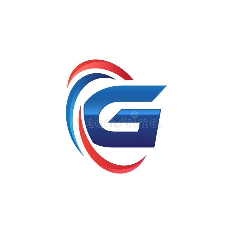 Initial letter G logo swoosh red and blue. Initial letter logo swoosh red and blue. simple and modern initial logo vector royalty free illustration