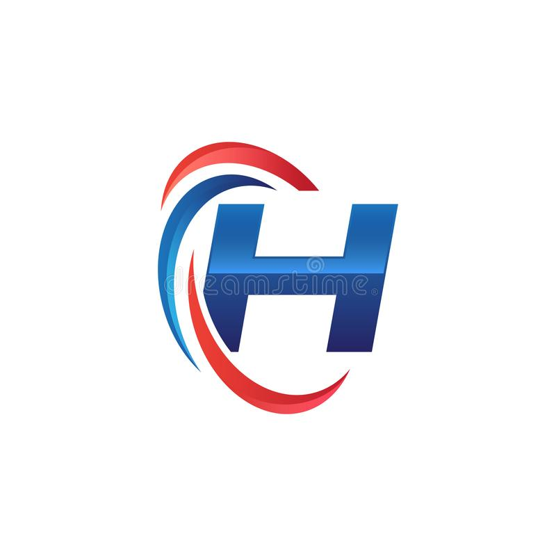 Initial letter H logo swoosh red and blue. Initial letter logo swoosh red and blue. simple and modern initial logo vector vector illustration