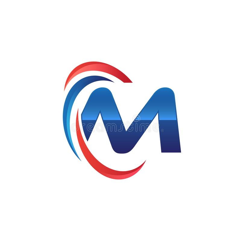 Initial letter M logo swoosh red and blue. Initial letter logo swoosh red and blue. simple and modern initial logo vector vector illustration