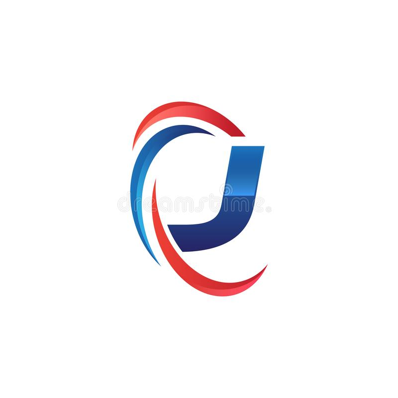 Initial letter J logo swoosh red and blue. Initial letter logo swoosh red and blue. simple and modern initial logo vector stock illustration