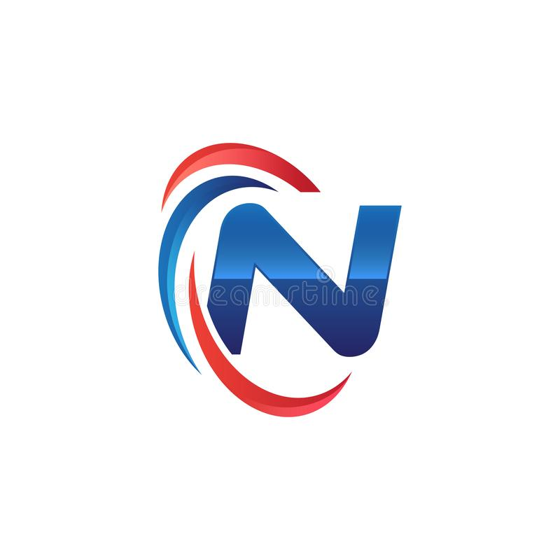 Initial letter N logo swoosh red and blue. Initial letter logo swoosh red and blue. simple and modern initial logo vector royalty free illustration