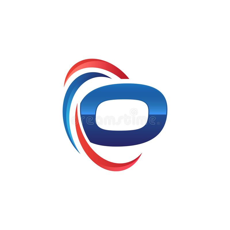 Initial letter O logo swoosh red and blue. Initial letter logo swoosh red and blue. simple and modern initial logo vector vector illustration