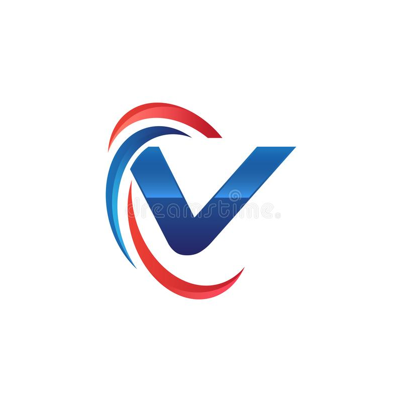 Initial letter V logo swoosh red and blue. Initial letter logo swoosh red and blue. simple and modern initial logo vector vector illustration
