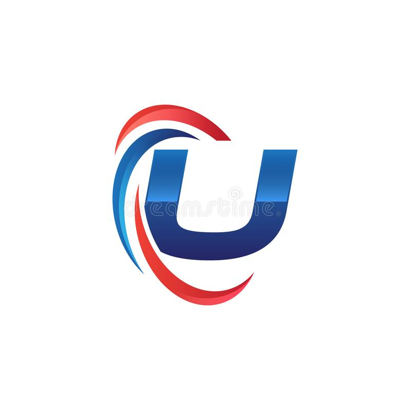 Initial letter U logo swoosh red and blue. Initial letter logo swoosh red and blue. simple and modern initial logo vector vector illustration