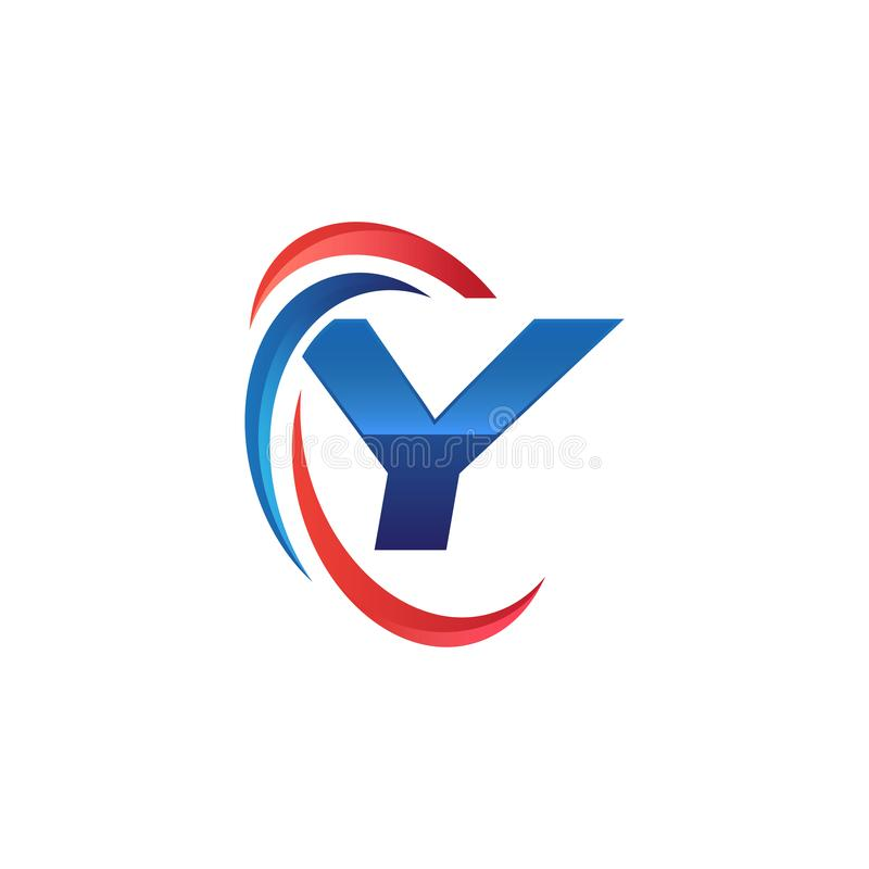 Initial letter Y logo swoosh red and blue. Simple and modern initial logo vector stock illustration