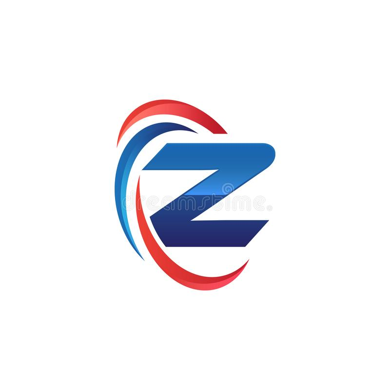 Initial letter Z logo swoosh red and blue. Simple and modern initial logo vector royalty free illustration