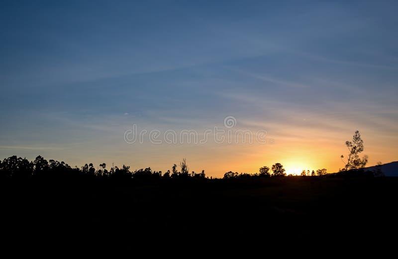 Fast klarer Himmel bei Sonnenuntergang lizenzfreies stockfoto