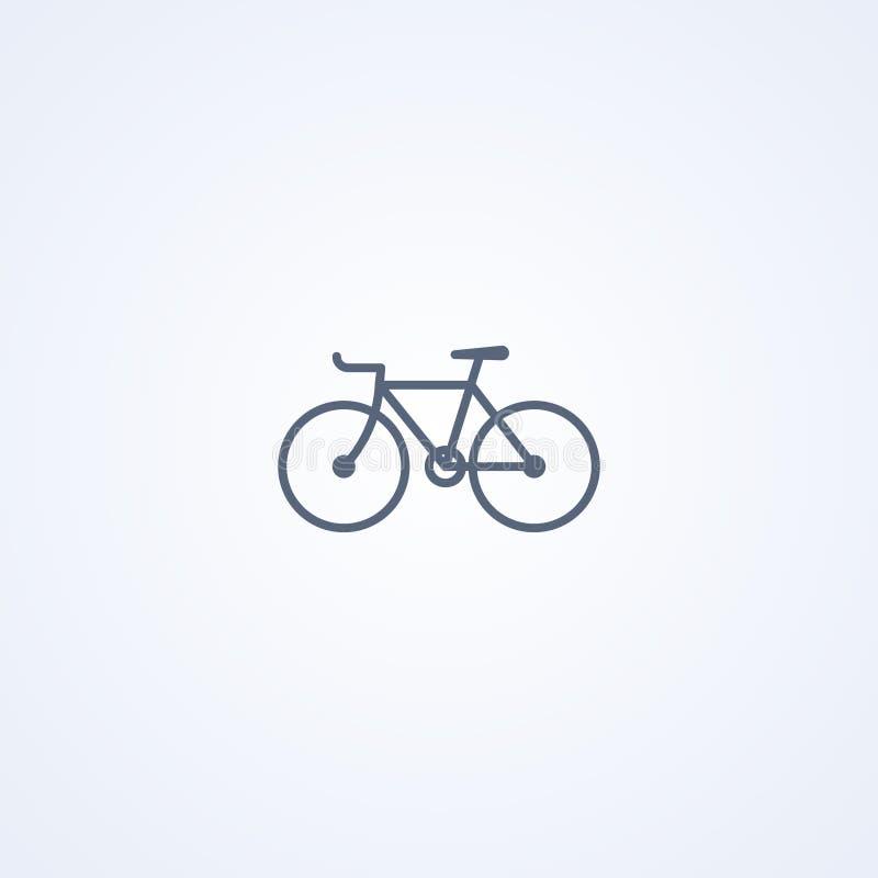 Fast kugghjulcykel, bästa grå linje symbol för vektor royaltyfri illustrationer