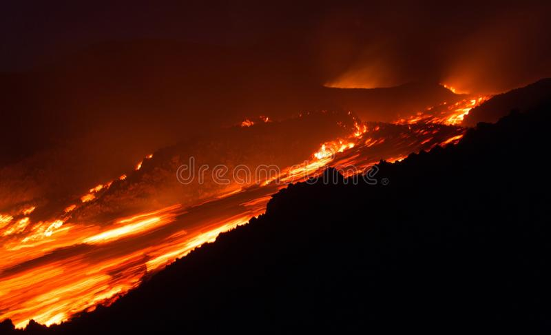 Fast Lava flow on Etna volcano erupting. Fast Lava flow in the night on the Etna Volcano from active crater royalty free stock photo