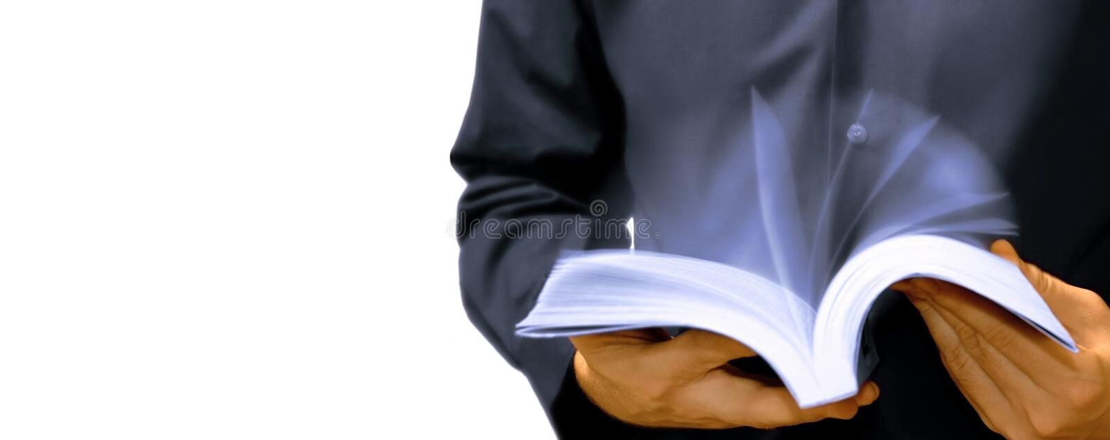 Fast learning concept, person reading and shuffle book pages royalty free stock photography