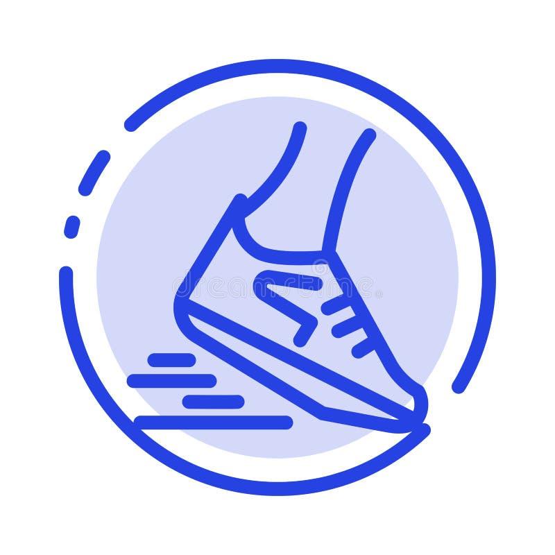 Fast, Leg, Run, Runner, Running Blue Dotted Line Line Icon vector illustration