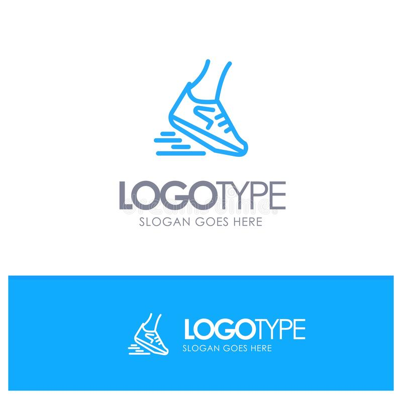 Fast, Leg, Run, Runner, Running Blue outLine Logo with place for tagline stock illustration