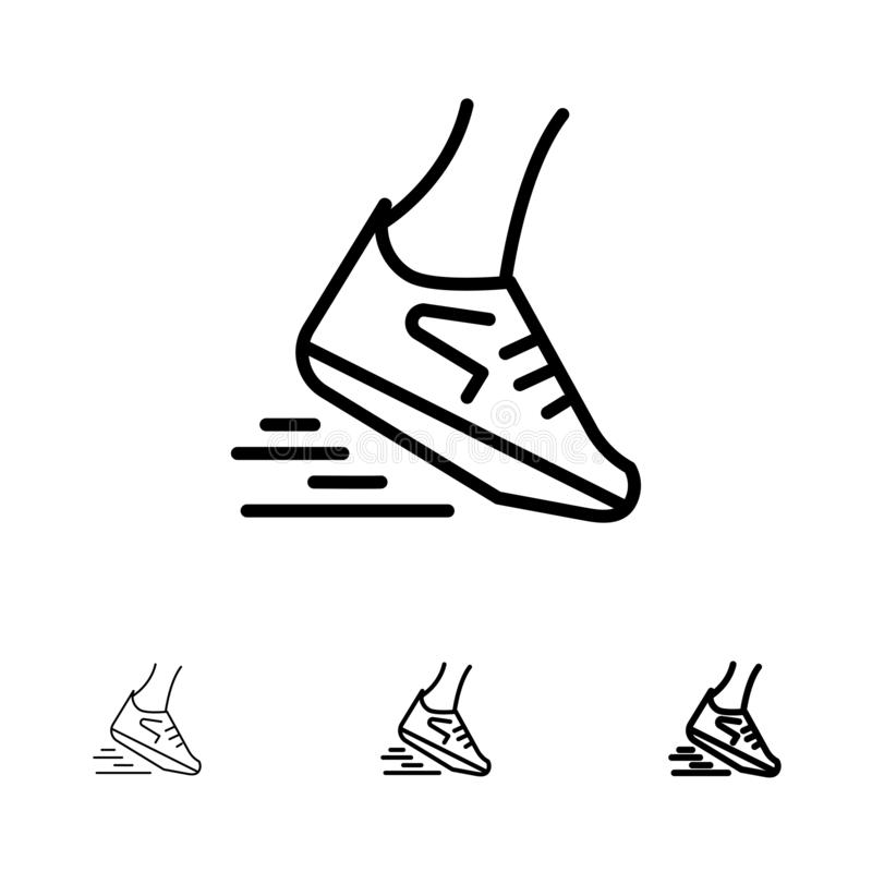 Fast, Leg, Run, Runner, Running Bold and thin black line icon set vector illustration