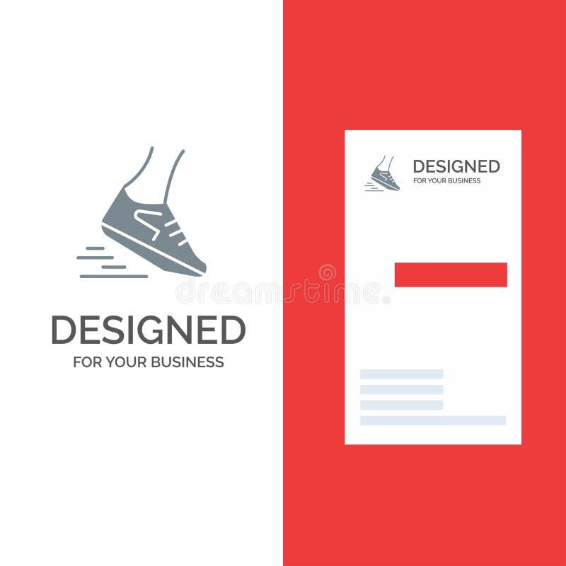 Fast, Leg, Run, Runner, Running Grey Logo Design and Business Card Template vector illustration