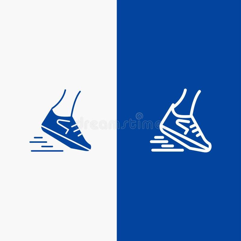 Fast, Leg, Run, Runner, Running Line and Glyph Solid icon Blue banner Line and Glyph Solid icon Blue banner stock illustration