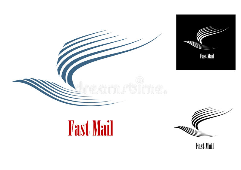 Fast mail symbol. With blue dove bird and text in three variations for post or delivery business concept royalty free illustration
