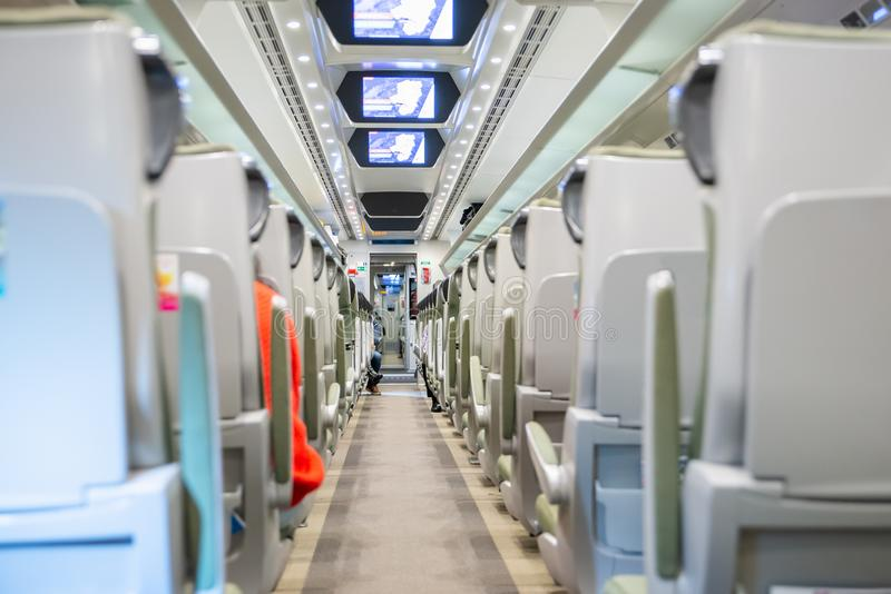 Fast modern comfortable train interior. Polish fast modern comfortable train interior royalty free stock images