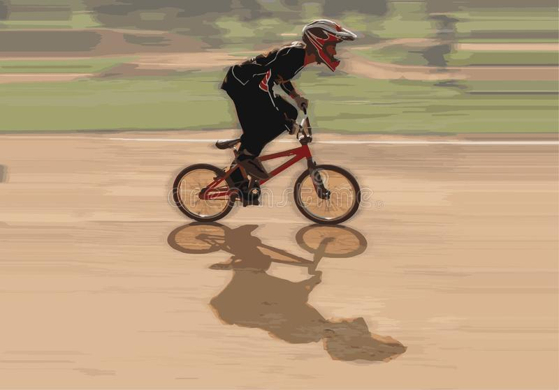 Fast moving bmx rider. On dirt track vector illustration