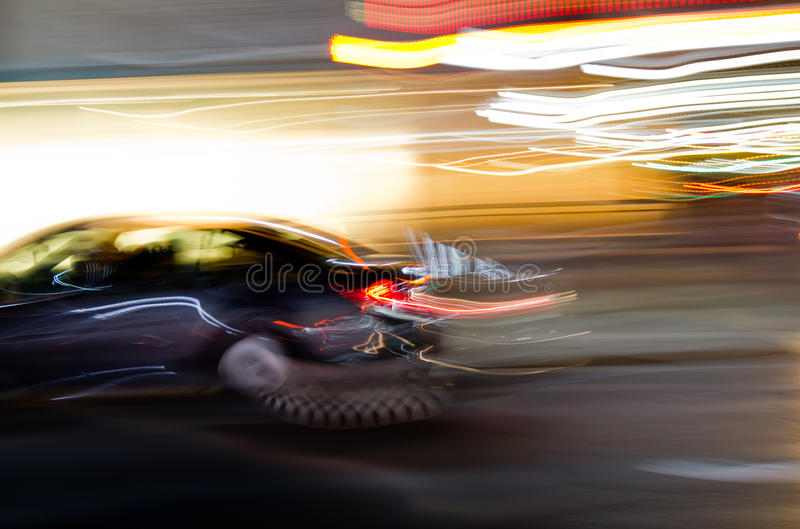 Fast moving car stock photos