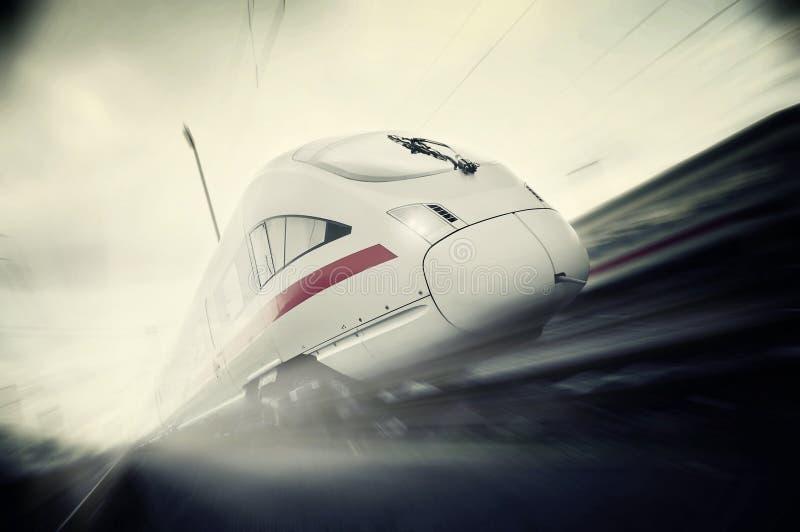 Fast moving passenger train royalty free stock photo