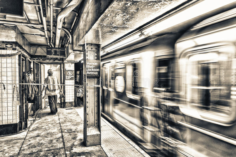 Fast moving subway train in New York subway royalty free stock photography