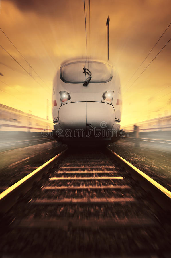 Fast moving train. With motion blur royalty free stock image