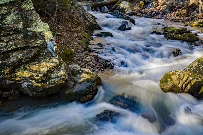 Fast Moving Water on a Wild Mountain Trout Stream. Located in the George Washington and Jefferson National Forest, Craig County, Virginia, USA royalty free stock photos