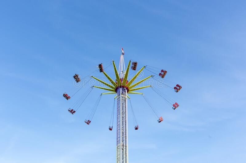 Fast moving whirligig at the Sassenheim town fair. royalty free stock images