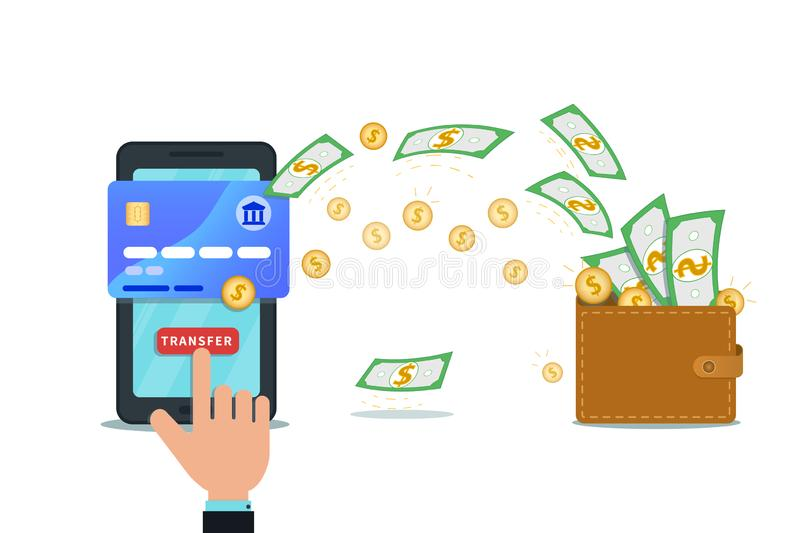 Fast online money transfer design with flat smartphone and hand finger click send button. Mobile wallet. stock illustration