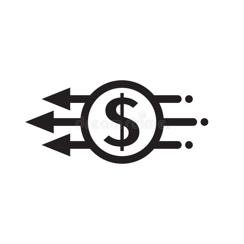 Fast pay - concept vector black icon design. Dollar money and arrows creative symbol. Mobile digital payment sign. vector illustration