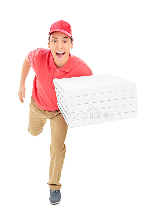Fast pizza delivery guy running. Isolated on white background stock photography