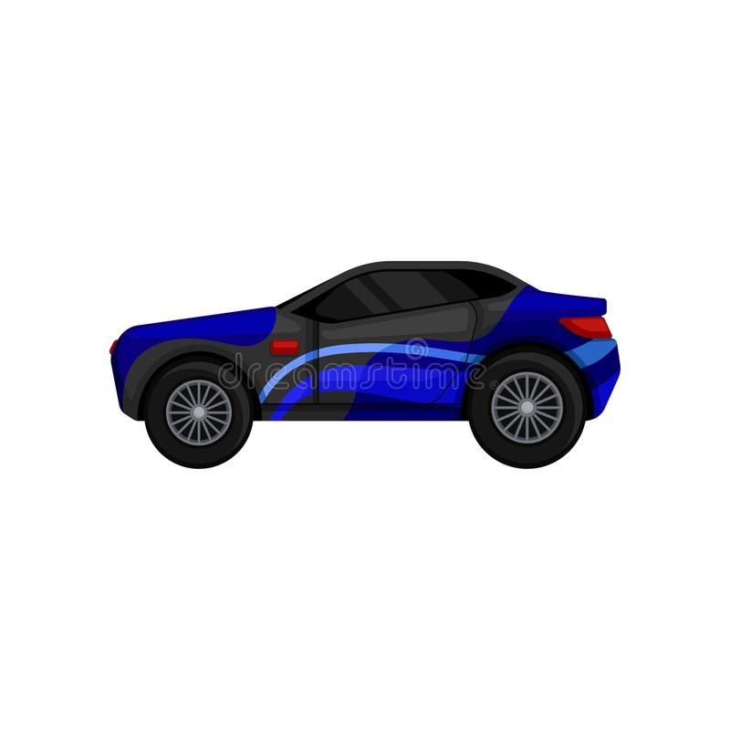 Fast racing car with large tires, tinted windows, blue and gray body. Sports automobile. Flat vector element for mobile vector illustration