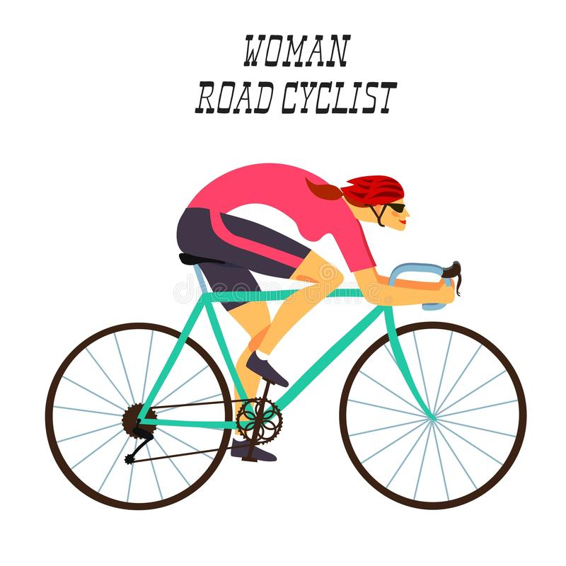 Fast racing cyclist woman. Girl racing cyclist in action. Fast road biker woman. Editable illustration vector illustration