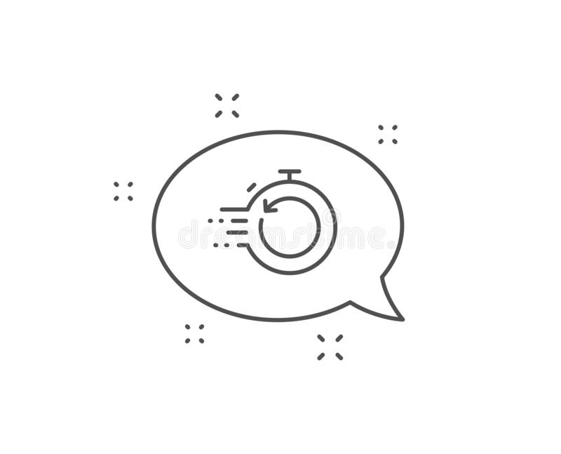Fast recovery line icon. Backup data sign. Restore timer. Vector. Fast recovery info line icon. Chat bubble design. Backup data sign. Restore timer symbol stock illustration