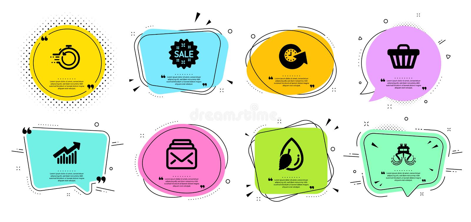 Fast recovery, Sale and Update time icons set. Ship, Water drop and Demand curve signs. Vector. Fast recovery, Sale and Update time line icons set. Chat bubbles vector illustration