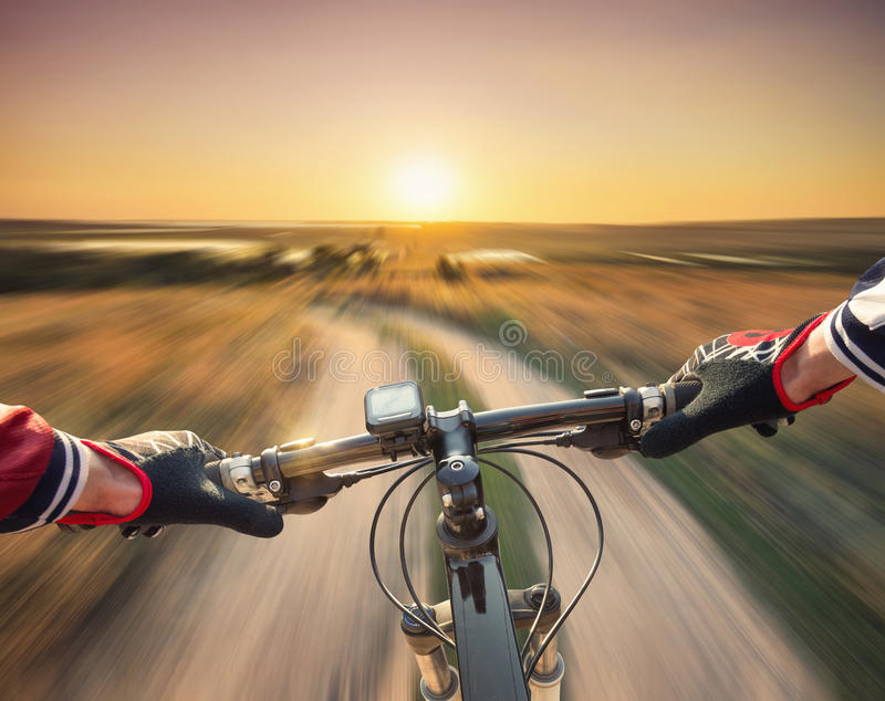 Fast ride on bike stock photography