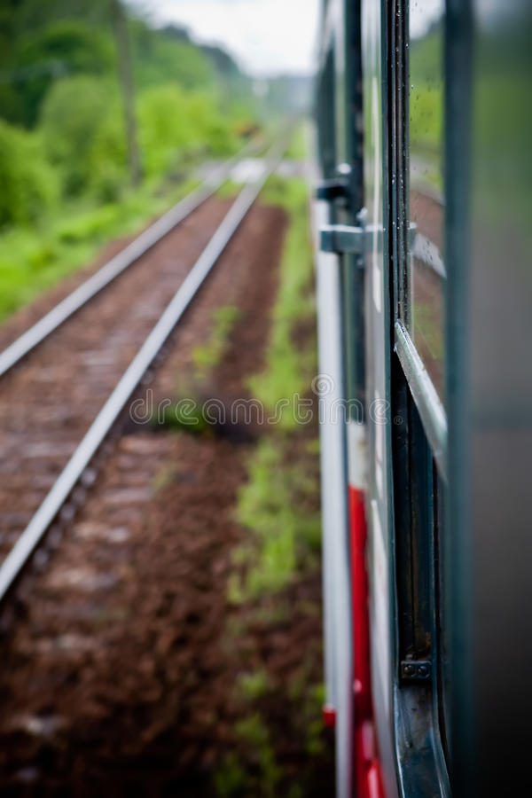 Fast riding a train. With motion blur royalty free stock photos