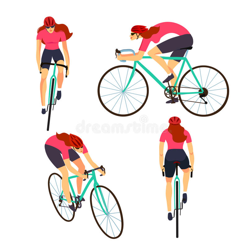 Fast road biker set from different view. Racing cyclist woman in action set. Fast road lady biker from side, front, back and three quarter view. Editable royalty free illustration