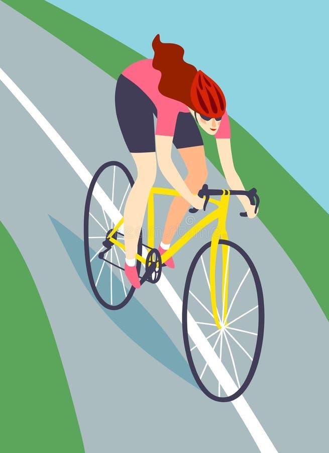 Fast road biker woman. Dynamic racing cyclist riding down the road. Fast road biker woman . Editable vector illustration stock illustration