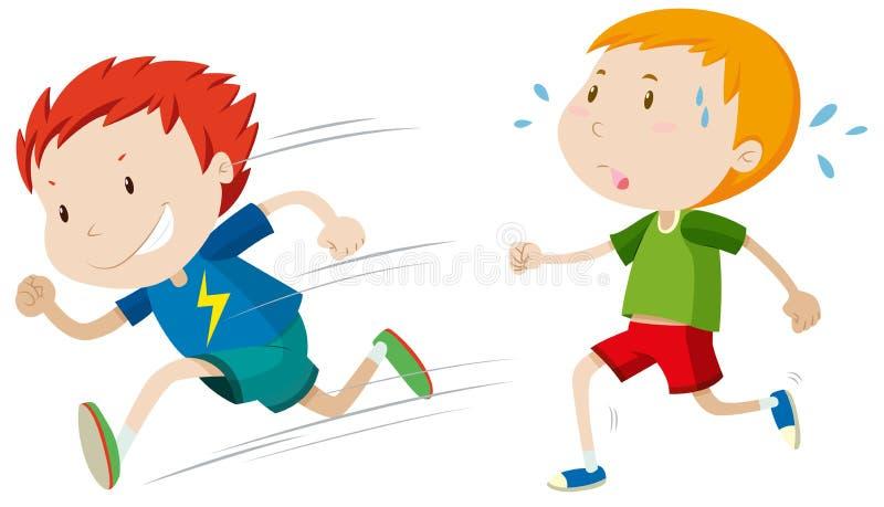 Fast runner and slow runner. Illustration royalty free illustration