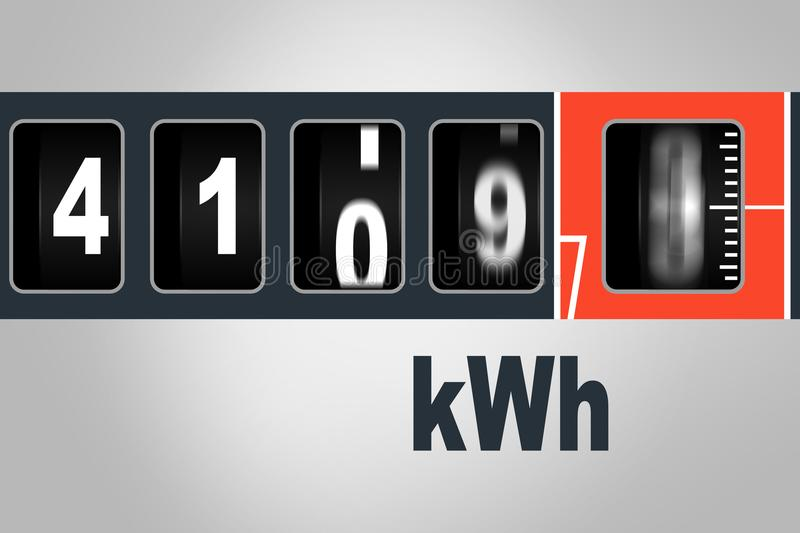 Fast running electricity meter - power consumption concept. Fast running electricity meter - electricity consumption concept stock illustration