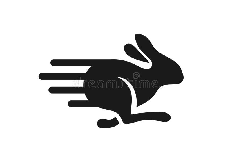 Fast running rabbit logo vector. Run bunny fast or jump silhouette vector illustration stock illustration