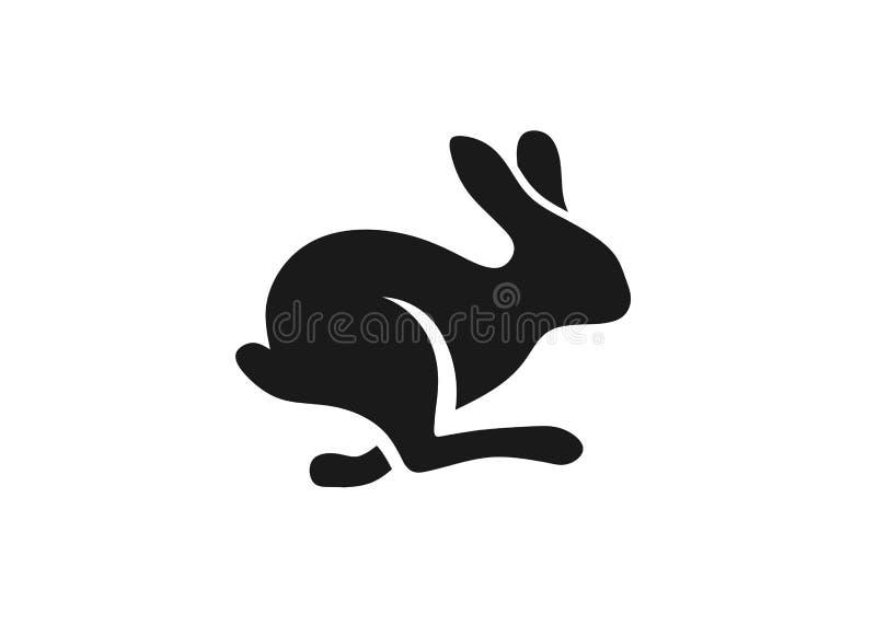 Fast running rabbit logo vector. Run bunny fast or jump silhouette vector illustration royalty free illustration