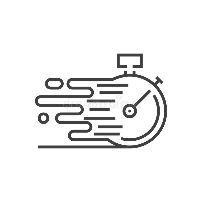 Fast Service Vector Icon. Fast Service Icon. Fast time delivery. Stopwatch in Motion, Deadline Concept, Clock Speed. Thin Line Vector Illustration. Adjust stroke royalty free illustration
