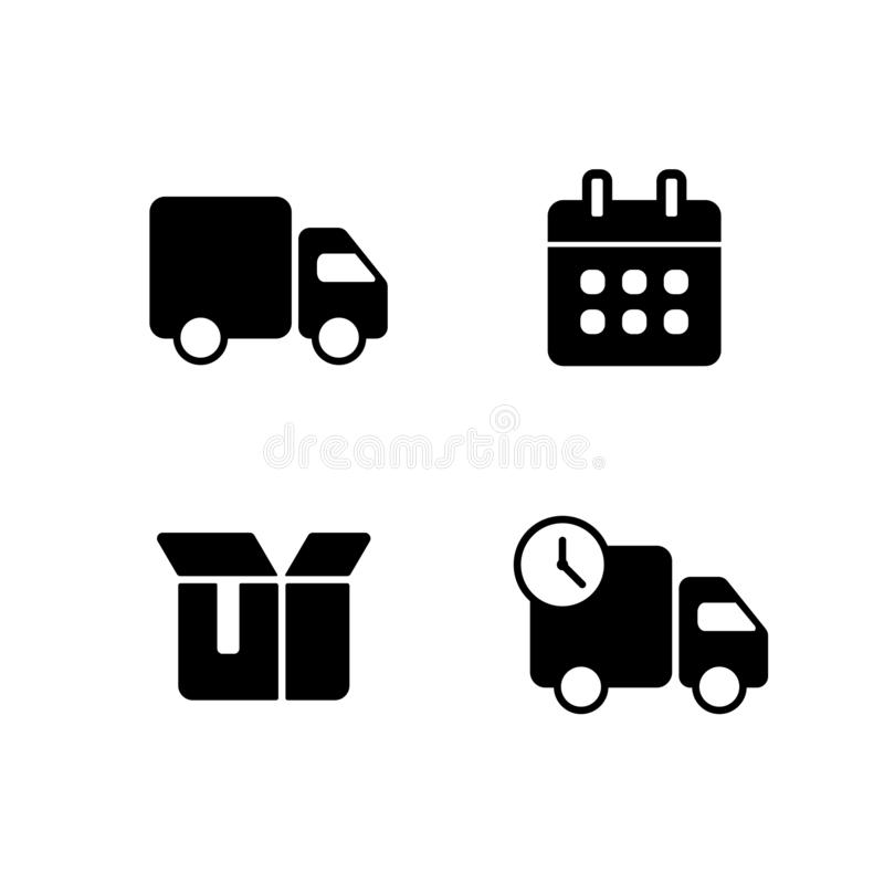 Fast shipping delivery truck. Set of Line icons. vector illustration