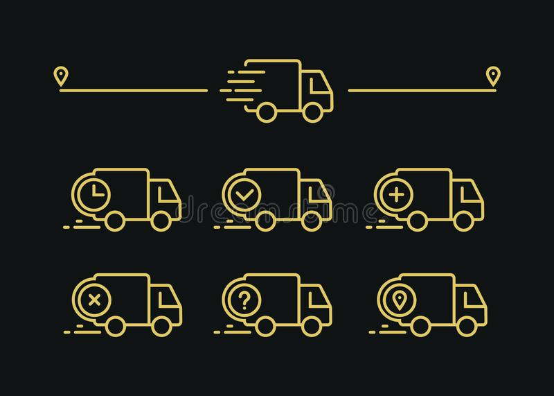 Fast shipping delivery truck. Set of Line icons. Vector illustration for apps royalty free illustration